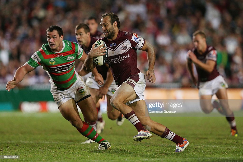 Brett Stewart of the Sea Eagles runs the ball during the round seven NRL match between the Manly Sea Eagles and the South Sydney Rabbitohs at Brookvale Oval on April 26, 2013 in Sydney, Australia.
