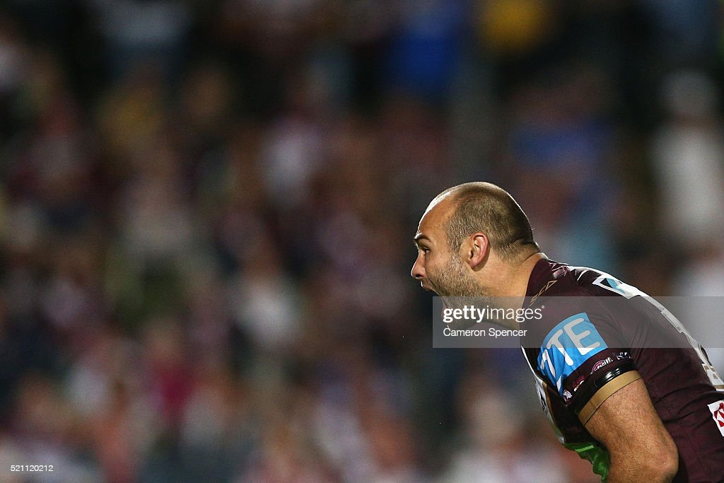 Brett Stewart of the Sea Eagles shows his emotions during the round seven NRL match between the Manly Sea Eagles and Parramatta Eels at Brookvale Oval on April 14, 2016 in Sydney, Australia.
