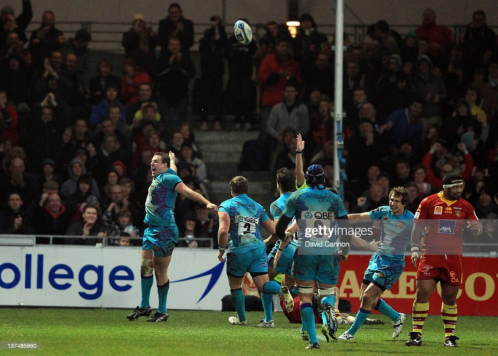 Brett Sturgess of Exeter celebrates after scoring a try for Exeter during the Amlin Challenge Cup match between Exeter Chiefs and Perpignan at Sandy Park on January 21, 2012 in Exeter, England.
