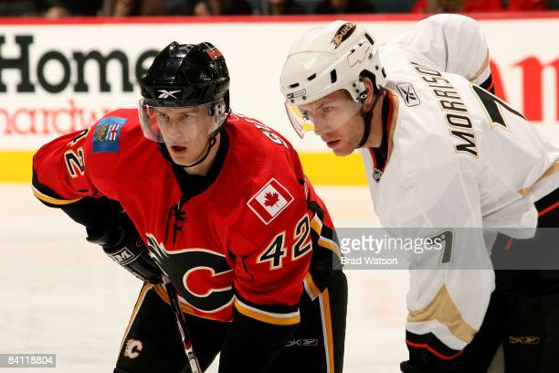 Brett Sutter of the Calgary Flames skates in his first NHL game against the Anaheim Ducks on December 23, 2008 at Pengrowth Saddledome in Calgary,...