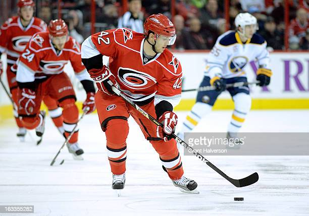 Brett Sutter of the Carolina Hurricanes against the Buffalo Sabres during play at PNC Arena on March 5, 2013 in Raleigh, North Carolina. The...