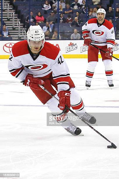 Brett Sutter of the Carolina Hurricanes controls the puck against the Columbus Blue Jackets on September 26, 2013 in a preseason game at Nationwide...
