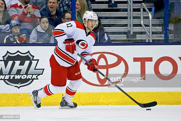 Brett Sutter of the Carolina Hurricanes controls the puck during the game against the Columbus Blue Jackets on January 10, 2014 at Nationwide Arena...