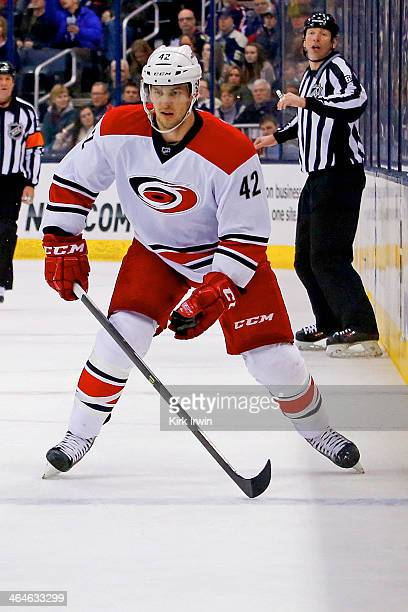 Brett Sutter of the Carolina Hurricanes skates after the puck during the game against the Columbus Blue Jackets on January 10, 2014 at Nationwide...