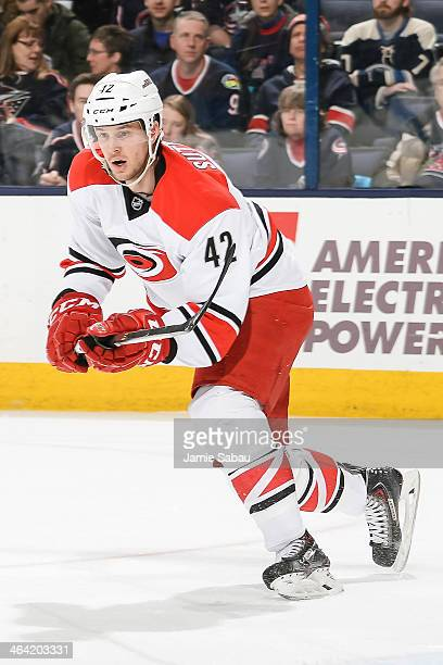 Brett Sutter of the Carolina Hurricanes skates against the Columbus Blue Jackets on January 10, 2014 at Nationwide Arena in Columbus, Ohio.