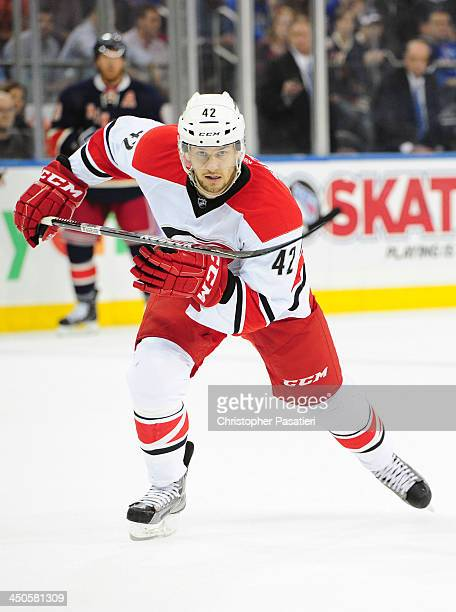 Brett Sutter of the Carolina Hurricanes skates during the first period against the New York Rangers at Madison Square Garden on November 2, 2013 in...