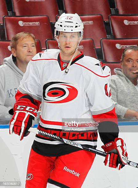 Brett Sutter of the Carolina Hurricanes skates prior to the game against the Florida Panthers at the BB&T Center on March 3, 2013 in Sunrise,...