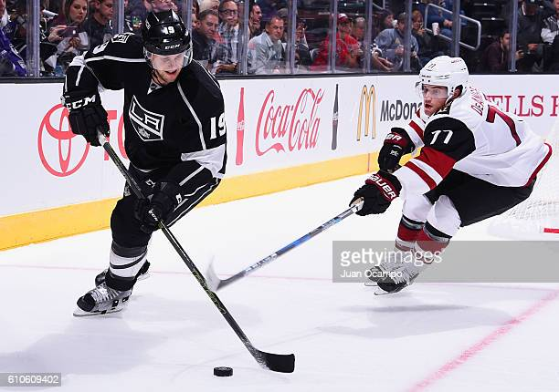 Brett Sutter of the Los Angeles Kings skates against Anthony Deangelo of the Arizona Coyotes during their game on September 26, 2016 at Staples...