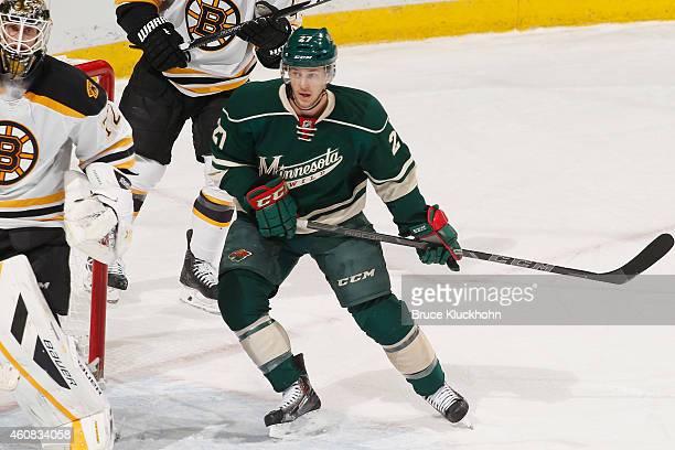 Brett Sutter of the Minnesota Wild skates against the Boston Bruins during the game on December 17, 2014 at the Xcel Energy Center in St. Paul,...