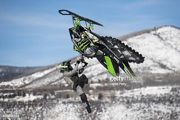 Brett Turcotte completes his second jump in the snowmobile best trick event on Day 4 of Winter X Games 2017 Aspen at Buttermilk Mountain on January...