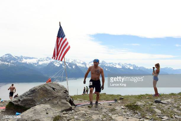 Brett Vadla reaches the top of Mount Marathon during the Men's Division of the 91st Running of the Mount Marathon Race on July 4 2018 in Seward...