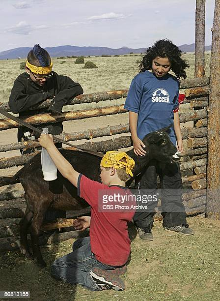 Brett watches Colton milking the goat as Guylan holds him still in KID NATION on the CBS Television Network