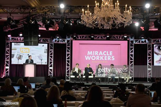 TBS TNT GM Brett Weitz Simon Rich Steve Buscemi Geraldine Viswanathan Karan Soni and Daniel Radcliffe of 'Miracle Workers' speak onstage during the...