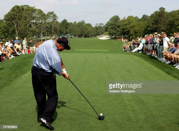 Brett Wetterich hits his tee shot on the first hole during the second practice day prior to the start of The Masters at the Augusta National Golf...