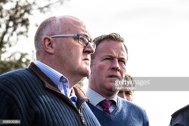 Brett Whiteley and Tasmanian premier Will Hodgman visit Latrobe with Prime Minister Malcolm Turnbull on June 9 2016 in Devonport Australia Severe...