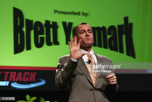 Brett Yormark, NASCAR vice president of corporate marketing, speaks during the Short Track Racing Summit December 9, 2004 at The Orleans Arena in Las...