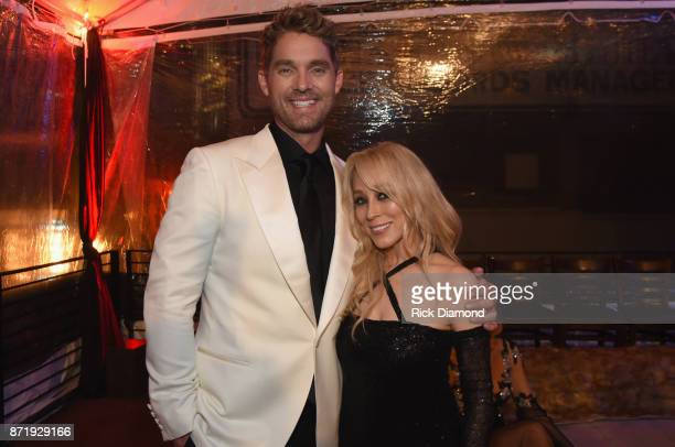 Brett Young and BMLG's Sandi Spika Borchetta attends the Big Machine Label Group's celebration of the 51st Annual CMA Awards at FGL House in...