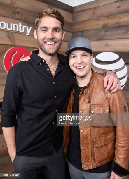 Brett Young and Gavin DeGraw pose backstage at the 2018 iHeartCountry Festival By ATT at The Frank Erwin Center on May 5 2018 in Austin Texas