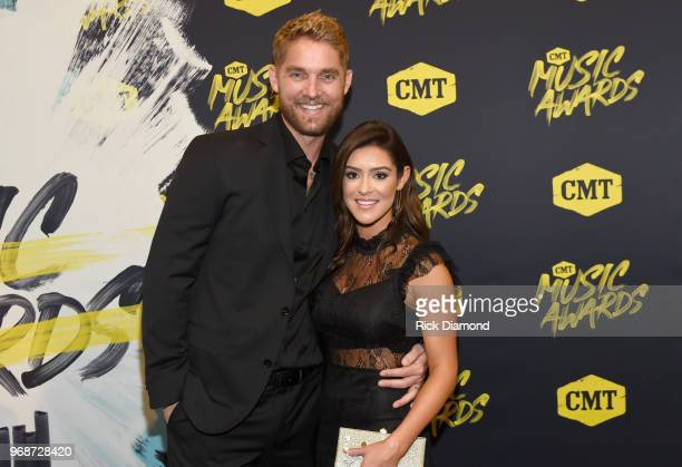 Brett Young and Taylor Mills attend the 2018 CMT Music Awards at Bridgestone Arena on June 6 2018 in Nashville Tennessee