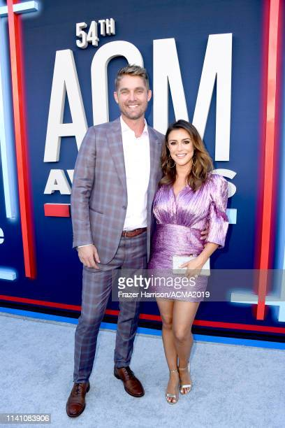 Brett Young and Taylor Mills attend the 54th Academy Of Country Music Awards at MGM Grand Hotel Casino on April 07 2019 in Las Vegas Nevada