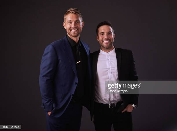 Brett Young and Tyler Rich attend Big Machine Label Group Celebrates the 52nd Annual CMA Awards in Nashville at FGL House on November 14 2018 in...