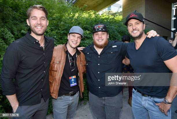 Brett Young Gavin DeGraw Luke Combs and Luke Bryan pose backstage at the 2018 iHeartCountry Festival By ATT at The Frank Erwin Center on May 5 2018...