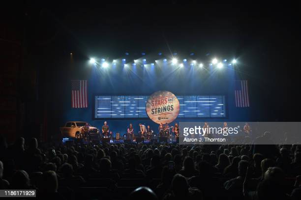 "Brett Young, Lady Antebellum and Kelsea Ballerini perform on stage during ""Stars and Strings Presented by RAM Trucks Built to Serve,"" a RADIO.COM..."