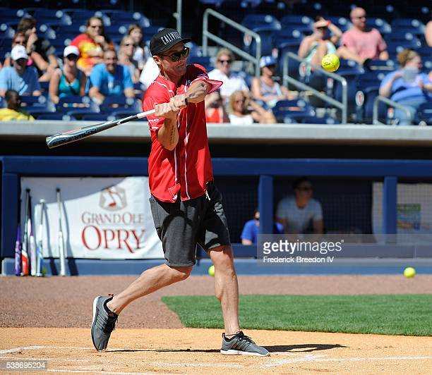 Brett Young makes a hit at the 26th Annual City of Hope Celebrity Softball Game at First Tennessee Park on June 7 2016 in Nashville Tennessee