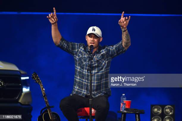 "Brett Young performs on stage during ""Stars and Strings Presented by RAM Trucks Built to Serve"" a RADIOCOM Event at the Fox Theatre on November 06..."
