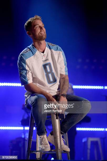Brett Young performs onstage during the 2018 CMA Music festival at Nissan Stadium on June 8 2018 in Nashville Tennessee