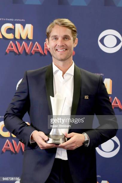 Brett Young winner of New Male Vocalist of the Year poses in the press room during the 53rd Academy of Country Music Awards at MGM Grand Garden Arena...