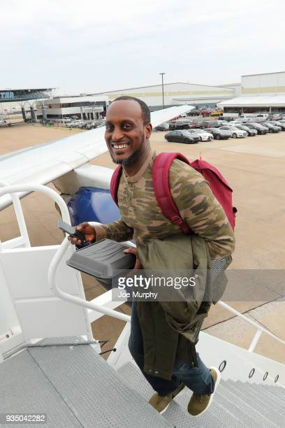 Brevin Knight of the Memphis Grizzlies boards the team plane on March 18 2018 at Wilson Air Center in Memphis Tennessee NOTE TO USER User expressly...