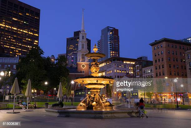 Brewer Fountain at Boston Common with buildings in background