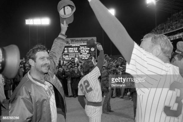 Brewers' pitcher Mike Caldwell takes a bow after winning his second World Series game against St Louis At right is teammate Charlie Moore