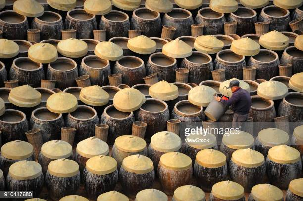 brewing factory of xiapu county,fujian province,china - soy sauce stock photos and pictures