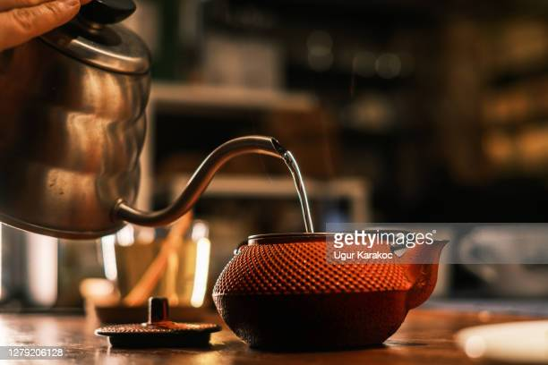 brewing herbal tea - steeping stock pictures, royalty-free photos & images
