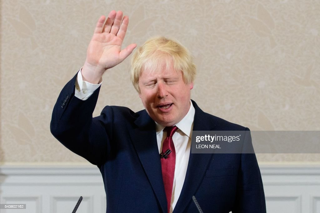 Brexit campaigner and former London mayor Boris Johnson waves after addressing a press conference in central London on June 30, 2016. Top Brexit campaigner and former London mayor Boris Johnson said Thursday he will not stand to succeed Prime Minister David Cameron, as had been widely expected after Britain's vote to leave the European Union. The British pound spiked Thursday immediately after Boris Johnson said he will not stand in the Conservative leadership race. / AFP / LEON