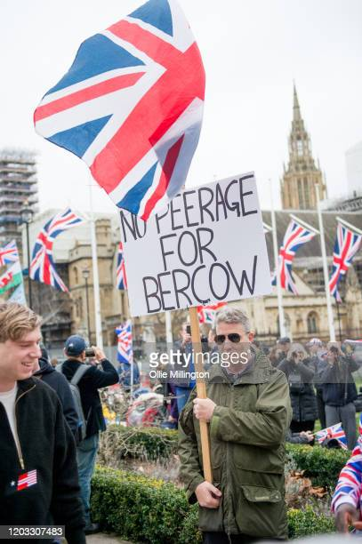 Brexit fan calls for no peerage for John Bercow while he celebrates during the day at the lunch time Brexit gathering in Parliament Square ahead of...