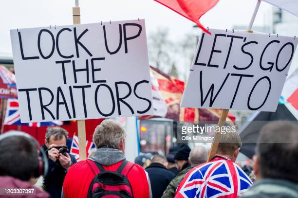Brexit fans with banners calling remain supporters traitors and calling for World Trade Organisaton trading rules celebrate during the day at the...