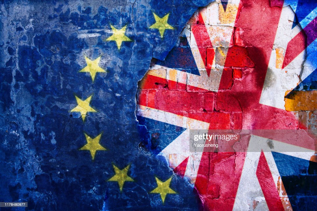 Brexit, Flags Of The United Kingdom And The European Union On Cracked Background : Stock Photo