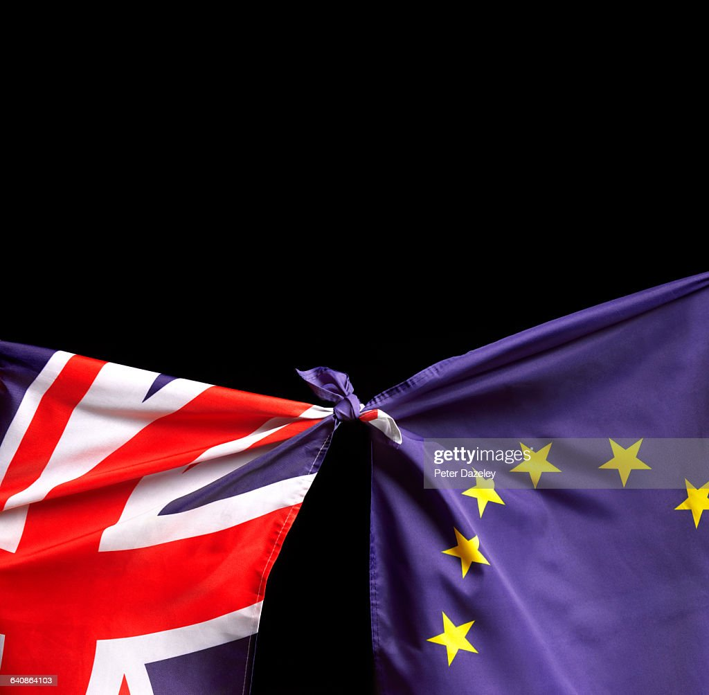 Brexit flags with copy space : Stock Photo