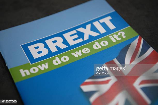 Brexit literature is seen on the third day of the Conservative Party Conference 2016 at the ICC Birmingham on October 4 2016 in Birmingham England...