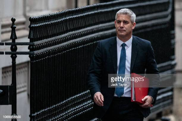Brexit Minister Stephen Barclay arrives for a cabinet meeting on Downing Street on November 20 2018 in London England The DUP abstained or backed...