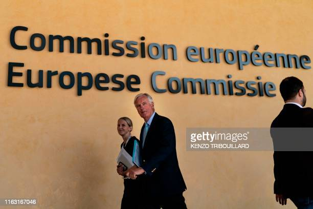 EU Brexit negotiator Michel Barnier arrives at the EU headquarters in Brussels on August 22 2019 for a meeting with the President of the European...