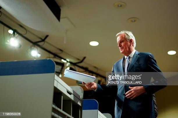 EU Brexit negotiator Michel Barnier arrives for a press conference on negotiations with UK on on February 3 2020