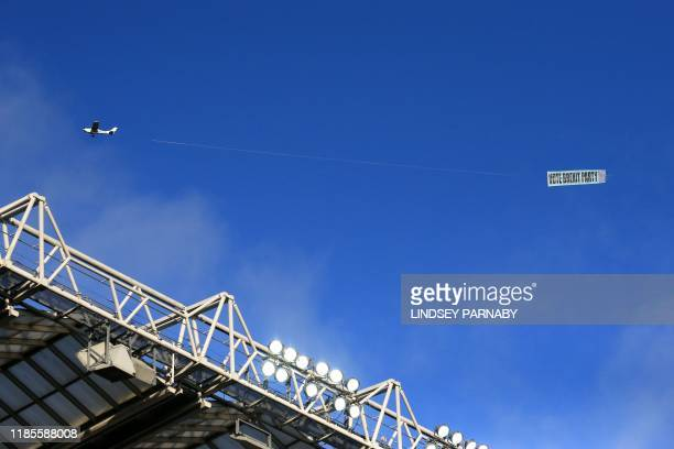Brexit Party banner is flown overhead before the English Premier League football match between Newcastle United and Manchester City at St James' Park...