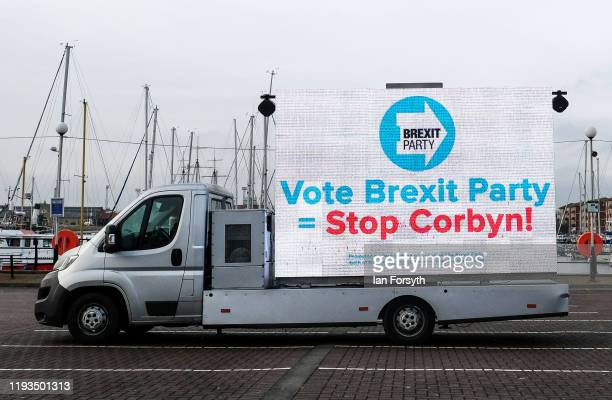 Brexit Party campaign van parks at Hartlepool marina as voters head to the polls in the general election on December 12 2019 in Hartlepool England...