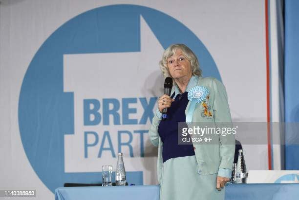 Brexit Party candidate Ann Widdecombe speaks at a European Parliament election campaign event in Pontefract northwest England on May 13 2019 The...