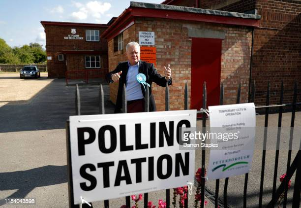 Brexit Party candidate Mike Greene gestures after meeting supporters outside the polling station at St Luke's Church on June 06 2019 in Peterborough...