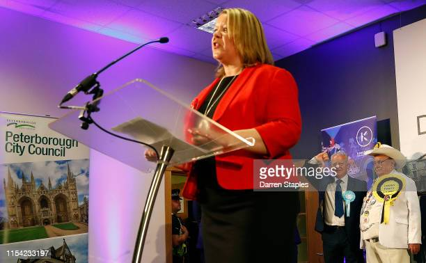 Brexit Party candidate Mike Greene gestures as newly elected Labour Party MP Lisa Forbes speaks at the byelection count centre on June 07 2019 in...